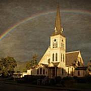 Historic Methodist Church In Rainbow Light Poster