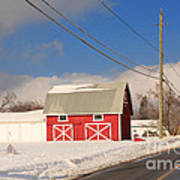 Historic Red Barn On A Snowy Winter Day Poster