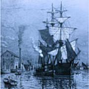 Historic Seaport Blue Schooner Poster by John Stephens