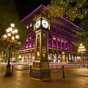 Historic Steam Clock In Gastown Vancouver Bc Poster