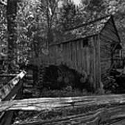 Historical 1868 Cades Cove Cable Mill In Black And White Poster