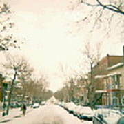 Hiver Psc Winter In The Point Snowy Day Paintings Montreal Art Cityscenes Brick Houses Snowed In Poster