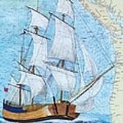 Hms Endeavour Tall Sailing Ship Chart Map Art Peek Poster