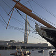 Hms Warrior Viewing The Spinnaker Tower Poster