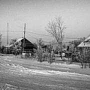 hoar frost covered street in small rural village of Forget Saskatchewan Canada Poster