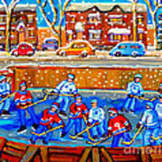 Hockey Art Collectible Cards And Prints Snowy Day  Neighborhood Rinks Verdun Montreal Art C Spandau Poster