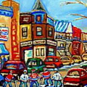 Hockey Art Montreal Winter Street Scene Painting Chez Vito Boucherie And Fairmount Bagel Poster
