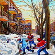 Hockey Art - Paintings Of Verdun- Montreal Street Scenes In Winter Poster