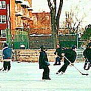 Hockey Art Shimmy Game Local Rink Montreal Paintings Winter Street Scene Verdun Art Carole Spandau Poster