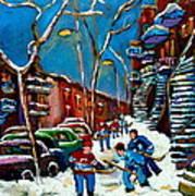 Hockey Game On De Bullion Montreal City Scene Poster