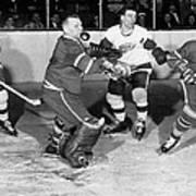 Hockey Goalie Chin Stops Puck Poster