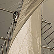 Hoisting The Mainsail In Sepia Poster
