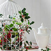 Holly And Berries Birdcage Poster