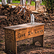 Holt Cemetery - God Is Love Bench Poster