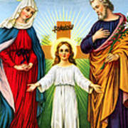 Holy Family With Cross Poster