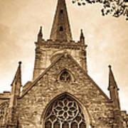 Holy Trinity Stratford On Avon Sepia Poster