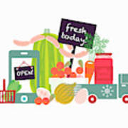Home Delivery Of Fresh Food Poster
