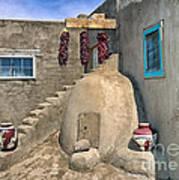 Home On Taos Pueblo Poster by Sandra Bronstein