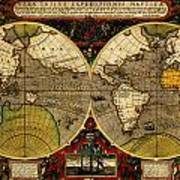 Hondius Map Of The World 1595 Poster