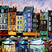 Honfleur-normandie - Palette Knife Oil Painting On Canvas By Leonid Afremov Poster