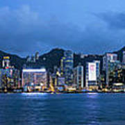 Hong Kong Island Central City Skyline At Blue Hour Poster