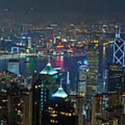 Hong Kong Night Scene Poster