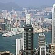 Hong Kong Skyline Poster by Lars Ruecker
