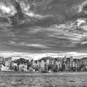 Hong Kong Skylines In Bw Poster