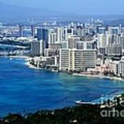 Honolulu And Waikiki From Diamond Head Poster