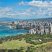 Honolulu From Diamond Head Crater Poster