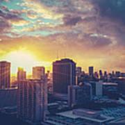 Honolulu Hawaii Sunset Poster
