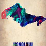 Honolulu Watercolor Map Poster
