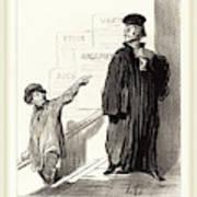 Honoré Daumier French, 1808-1879, Un Plaideur Peu Satisfait Poster