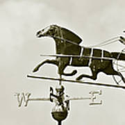 Horse And Buggy Weathervane In Sepia Poster