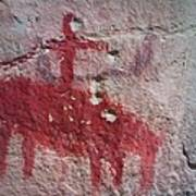 Horse And Rider Cave Painting Poster