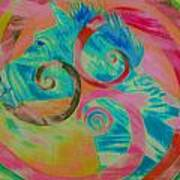 Horse And Spirals In Pink Poster