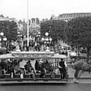 Horse And Trolley Main Street Disneyland Bw Poster
