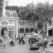 Horse And Trolley Turning Main Street Disneyland Bw Poster