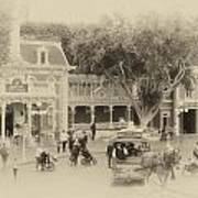 Horse And Trolley Turning Main Street Disneyland Heirloom Poster