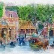Horse And Trolley Turning Main Street Disneyland Photo Art 01 Poster