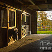 Horse Barn Sunset Poster by Edward Fielding