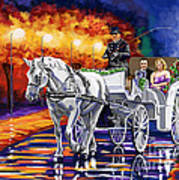 Horse Drawn Carriage Night Poster