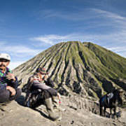 Horse Drivers Near A Volcano At Bromo Java Indonesia Poster