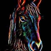 Horse On Black Poster