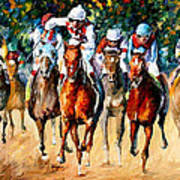 Horse Race - Palette Knife Oil Painting On Canvas By Leonid Afremov Poster