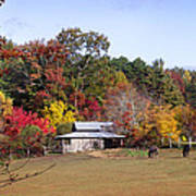 Horses And Barn In The Fall 2 Poster
