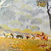 Horses Drinking In The Early Morning Mist Poster