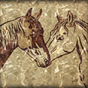 Horses On Marble Poster
