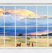 Horses On The Storm Large White Picture Window Frame View Poster