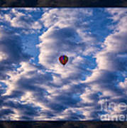 Hot Air Balloon In A Cloudy Sky Abstract Photograph Poster
